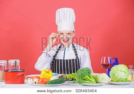 Culinary Education. Culinary Expert. Woman Chef Cooking Healthy Food. Fresh Vegetables Ingredients F