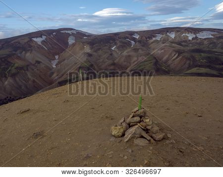 View from top of Brennisteinsalda mountain peak on scenic panorama of colorful volcanic Landmannalaugar mountains. Area of Fjallabak Nature Reserve in Highlands of Iceland poster