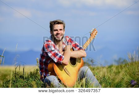 Music Is The Answer. Cowboy Man With Acoustic Guitar Player. Hipster Fashion. Happy And Free. Sexy M