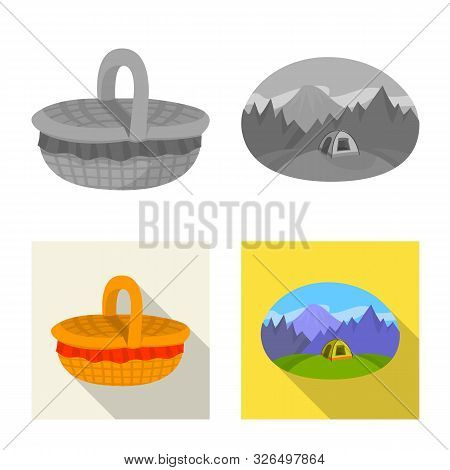 Isolated Object Of Cookout And Wildlife Symbol. Set Of Cookout And Rest Vector Icon For Stock.