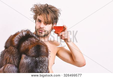 Rich Athlete Enjoy His Life. Guy Attractive Rich Posing Fur Coat On Naked Body. Sexy Sleepy Rich Mac