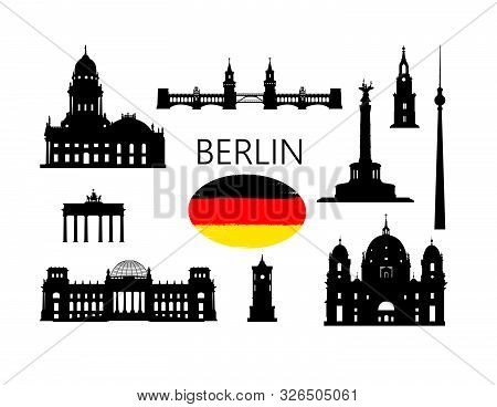 Berlin. Famous Tourist Places Of Capital Of Germany. Travel Germany Set. German Building Icon Silhou
