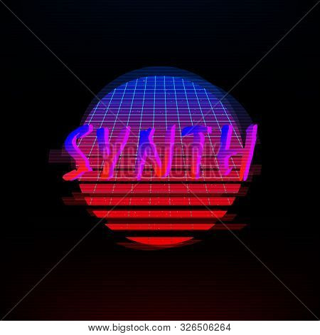 Synthwave Style Gradient Sun With Outer Space Starry And A Laser Grid Inside, Glitch Effect. Retro 1
