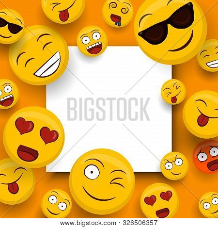 Social Yellow Emoticon Icons On Isolated White Copy Space Template. Fun Smiley Face Cartoons Include
