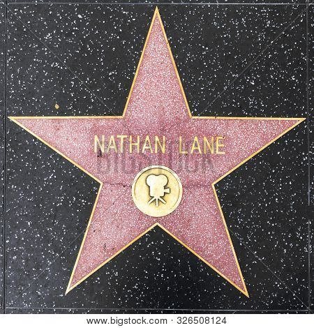 Los Angeles, Usa - March 5, 2019: Closeup Of Star On The Hollywood Walk Of Fame For Nathan Lane.