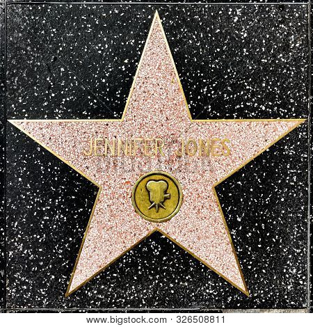 Los Angeles, Usa - March 17, 2019: Closeup Of Star On The Hollywood Walk Of Fame For Jennifer Jones.
