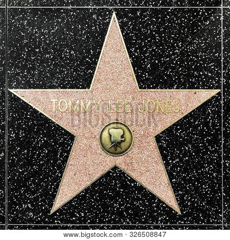 Los Angeles, Usa - March 17, 2019: Closeup Of Star On The Hollywood Walk Of Fame For Tommy Lee Jones
