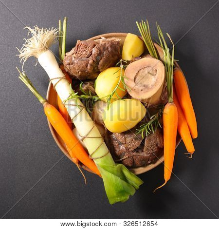 pot au feu, french gastronomy- beef, broth and vegetable