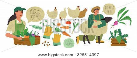 Farmer Production Set Of Agriculture Worker People, Vegetables And Farm Animals In Modern Flat Carto
