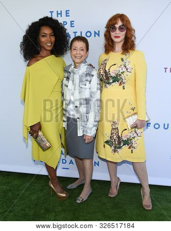 LOS ANGELES - OCT 06:  Angela Bassett, Gail Abarbanel and Christina Hendricks arrives for The Rape Foundation Annual Brunch on October 06, 2019 in Los Angeles, CA