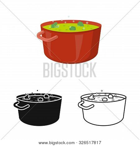 Vector Illustration Of Saucepan And Broccoli Icon. Collection Of Saucepan And Vegetable Stock Symbol