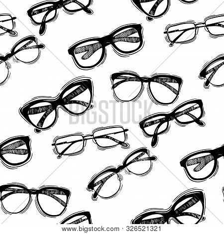 Seamless Pattern With Glasses In Vintage Style. Vector Seamless Pattern With Hand Drawn Vintage Glas