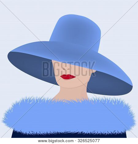 Elegant Woman In A Blue Hat And A Fur Collar With Long Nap - Vector. Modern Fashion.