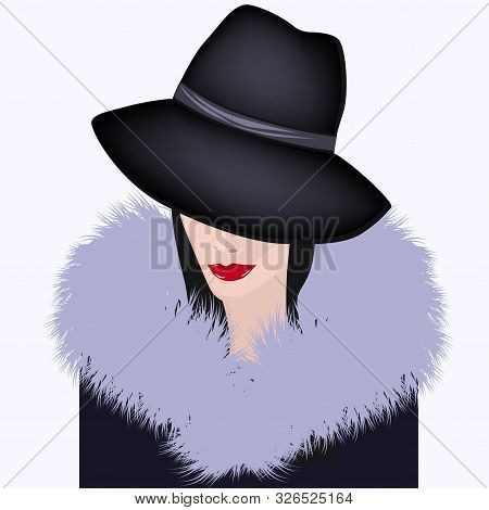 Stylish Woman In A Hat And A Fur Collar With A Long Nap - Vector. Winter Fashion Clothes