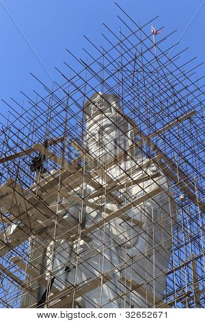 Kuan Yin statue of buddha Chinese yet created is not finished. poster