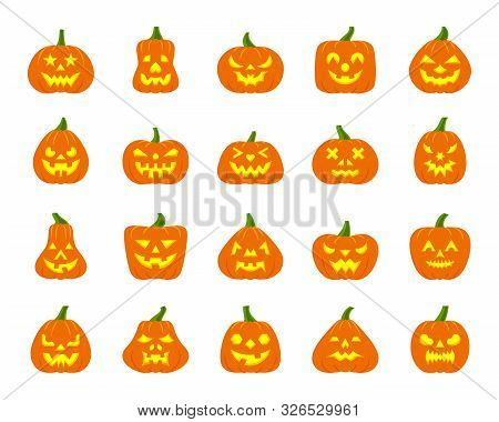 Jack O Lantern Flat Icons Set Web Sign Kit Pumpkin Face Halloween Pictogram Collection Angry Eyes, C