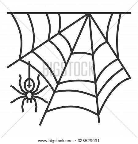 Spider Web Thin Line Icon. Cobweb Vector Isolated On White Linear Symbol With Different Stroke Width