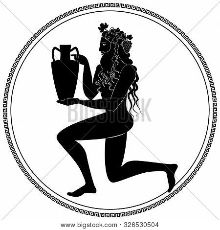 Man Knee On Land Holding An Amphora, Wearing Crown Of Grape Leaves And Bunches Of Grapes. Representa