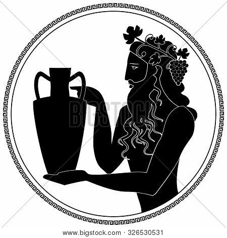 Man Holding An Amphora, Wearing Crown Of Grape Leaves And Bunches Of Grapes. Representation Of The G