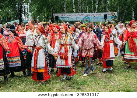 Voronezh, Russia - Circa, 2012: Traditional Russian Folklore Festival, People In Traditional Russian