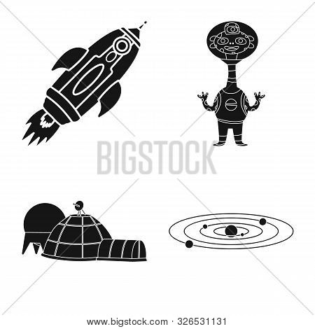 Vector Design Of Colonization And Sky Symbol. Set Of Colonization And Galaxy Stock Symbol For Web.