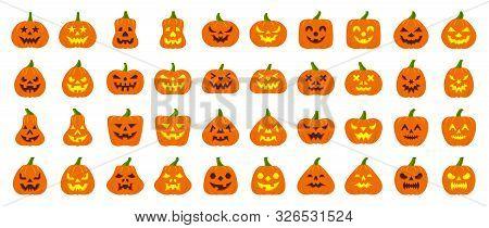 Jack-o-lantern Flat Icons Set Web Sign Kit Pumpkin Face Halloween Pictogram Collection Angry Eyes, C