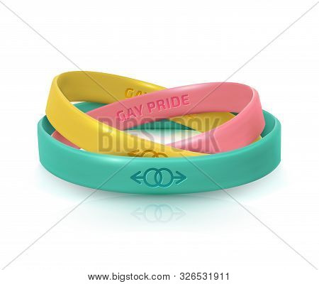 Lgbt Pride Concept. Three Rubber Bracelets For Homosexualist. Silicone Wristbands With Symbols Of Ge