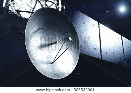 A Huge Dish Of Antenna, On A Space Satellite, Station. Elements Of This Image Were Furnished By Nasa