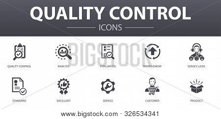 Quality Control Simple Concept Icons Set. Contains Such Icons As Analysis, Improvement, Service Leve