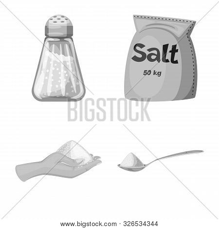 Vector Design Of Salt And Food Sign. Set Of Salt And Mineral Stock Vector Illustration.