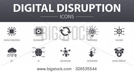 Digital Disruption Simple Concept Icons Set. Contains Such Icons As Technology, Innovation, Iot, Dig