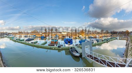 Mainz, Germany - Jan 18, 2019: Ships Anchor In The Yacht Harbor In Mainz In Sunset At River Rhine.