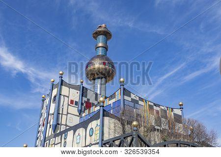 Vienna, Austria - February 16, 2019: Spittelau Waste Incineration Plant Of The City Vienna (in Germa