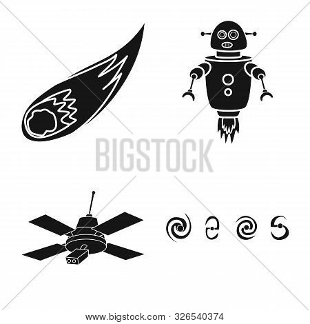 Vector Design Of Colonization And Sky Sign. Set Of Colonization And Galaxy Vector Icon For Stock.