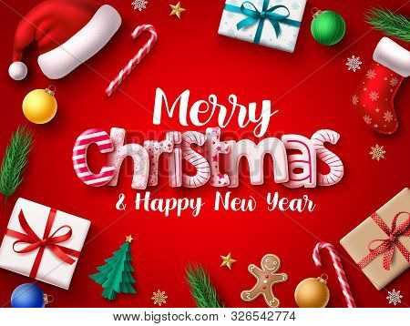 Christmas Vector Banner Design. Merry Chistmas Greeting 3d Realistic Typography Text With Xmas Decor