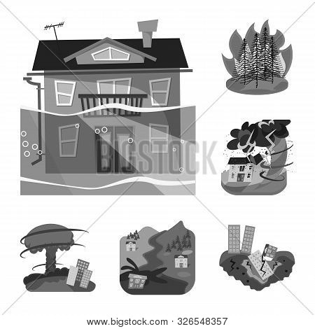 Vector Design Of Nature And Apocalypse Sign. Set Of Nature And Environment Vector Icon For Stock.