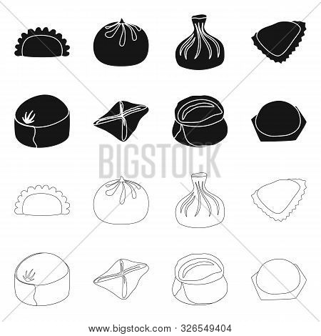 Vector Illustration Of Products And Cooking Sign. Set Of Products And Appetizer Stock Symbol For Web