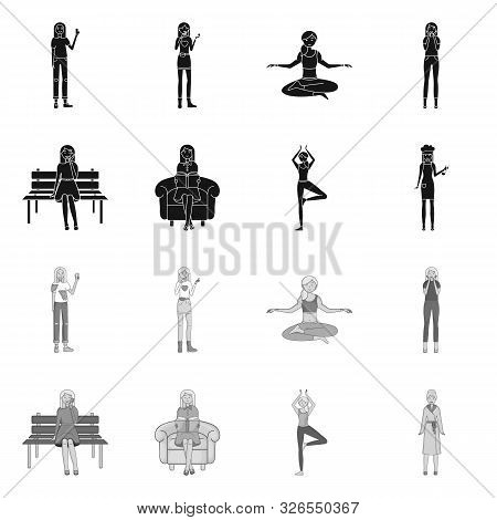 Vector Design Of Posture And Mood Symbol. Collection Of Posture And Female Stock Symbol For Web.