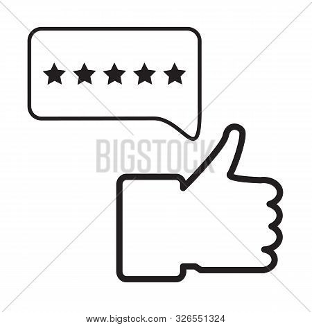 Feedback Icon On White Background. Flat Style. Five Star Rating Icon For Your Web Site Design, Logo,