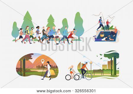 Active People Illustration Collection. People Running Marathon, Hiking, Enjoying Picnic, Riding Bike