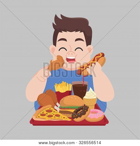 Big Fat Happy Man Enjoy Eat Fast Food, Junk Food, Chicken Drumstick, Pizza, Donuts, French Fries, Ha