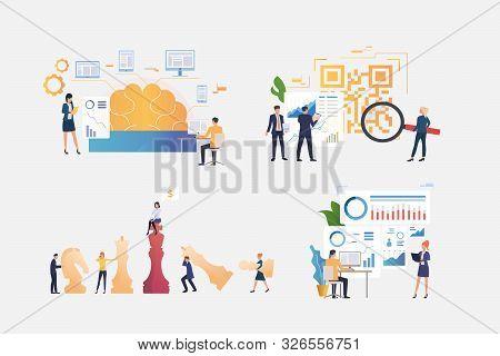 Marketing Analysis Illustration Set. People Presenting Infographics And Reports, Studying Brainwork