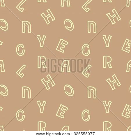 Vector Seamless Pattern With Letters Of The Alphabet. Hand Drawn Doodle Illustrstion.