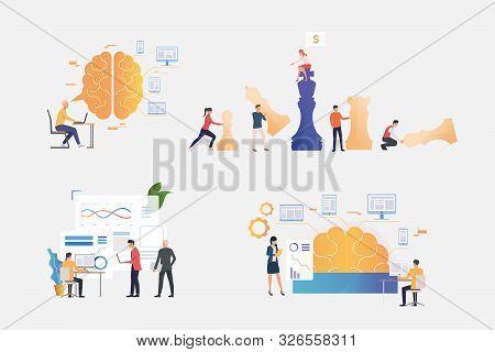 Working On Business Strategy Illustration Set. Playing Chess, Using Computer, Analyzing Charts, Gene