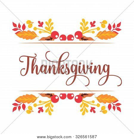 Greeting Card Thanksgiving, With Ornate Of Autumn Leaves Frame. Vector