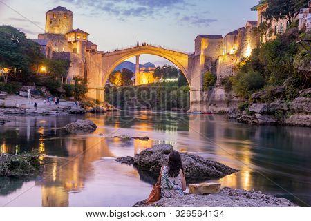 Mostar, Bosnia And Herzegovina-september 2019:the Old Bridge, Stari Most, With  River Neretva