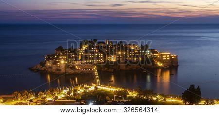 Saint Stefan Island. Popular Attraction Of Montenegro. Night Photography
