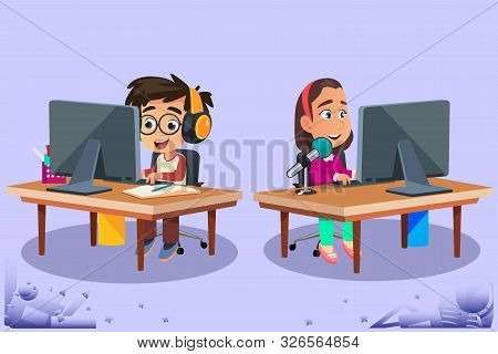 A Vector Illustration Of Kids Studying Using Computers