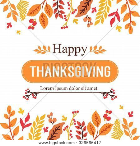 Various Poster Thanksgiving, With Sketch Of Autumn Leaves Frame. Vector