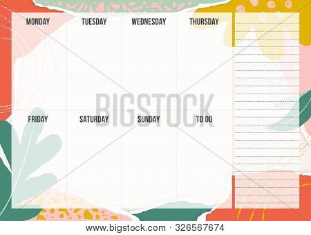 Stylish Weekly Planning Template With Pieces Of Torn Paper, Flower And Chalk Line. Blank Weekly Plan